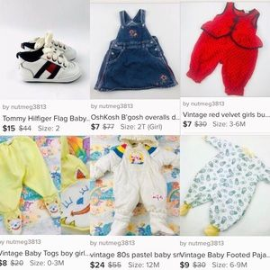 Vintage and modern baby clothes lot